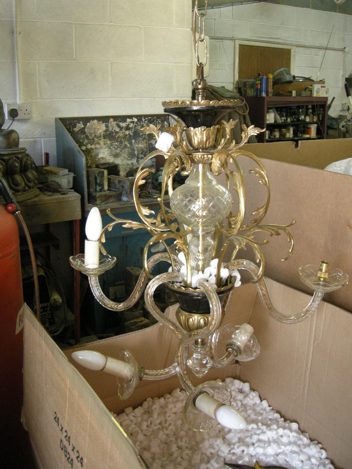 Antique metals chandelier repairs restoration glass and brass chandelier before restoration arubaitofo Image collections