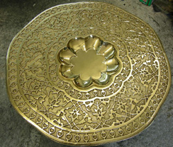 Brass table top after polishing and   lacquering