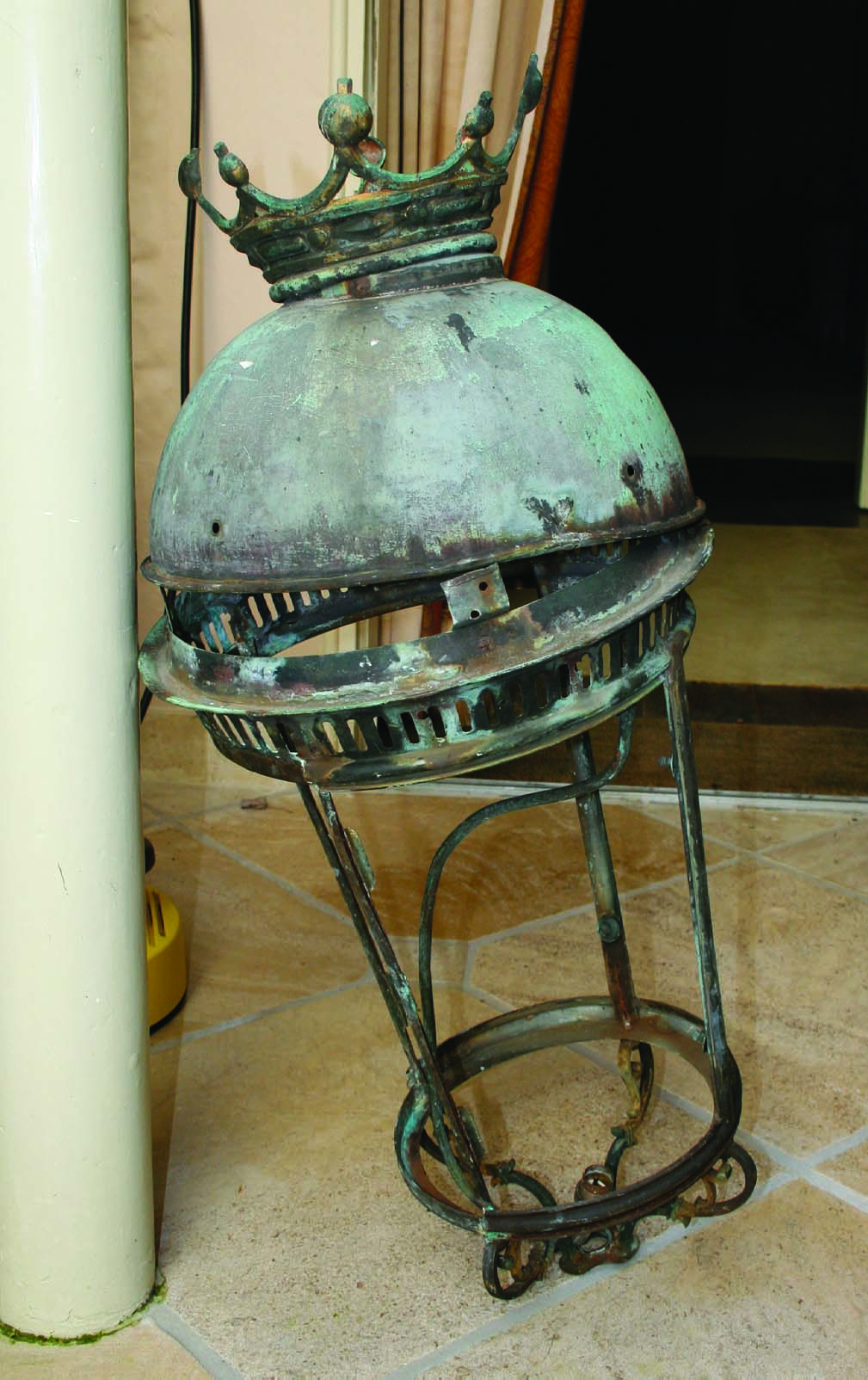 copper lantern before restoration