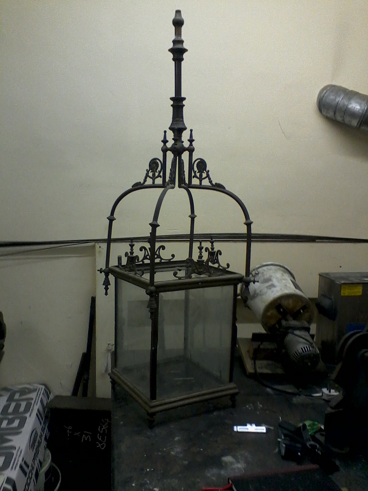 Brass lantern before restoration