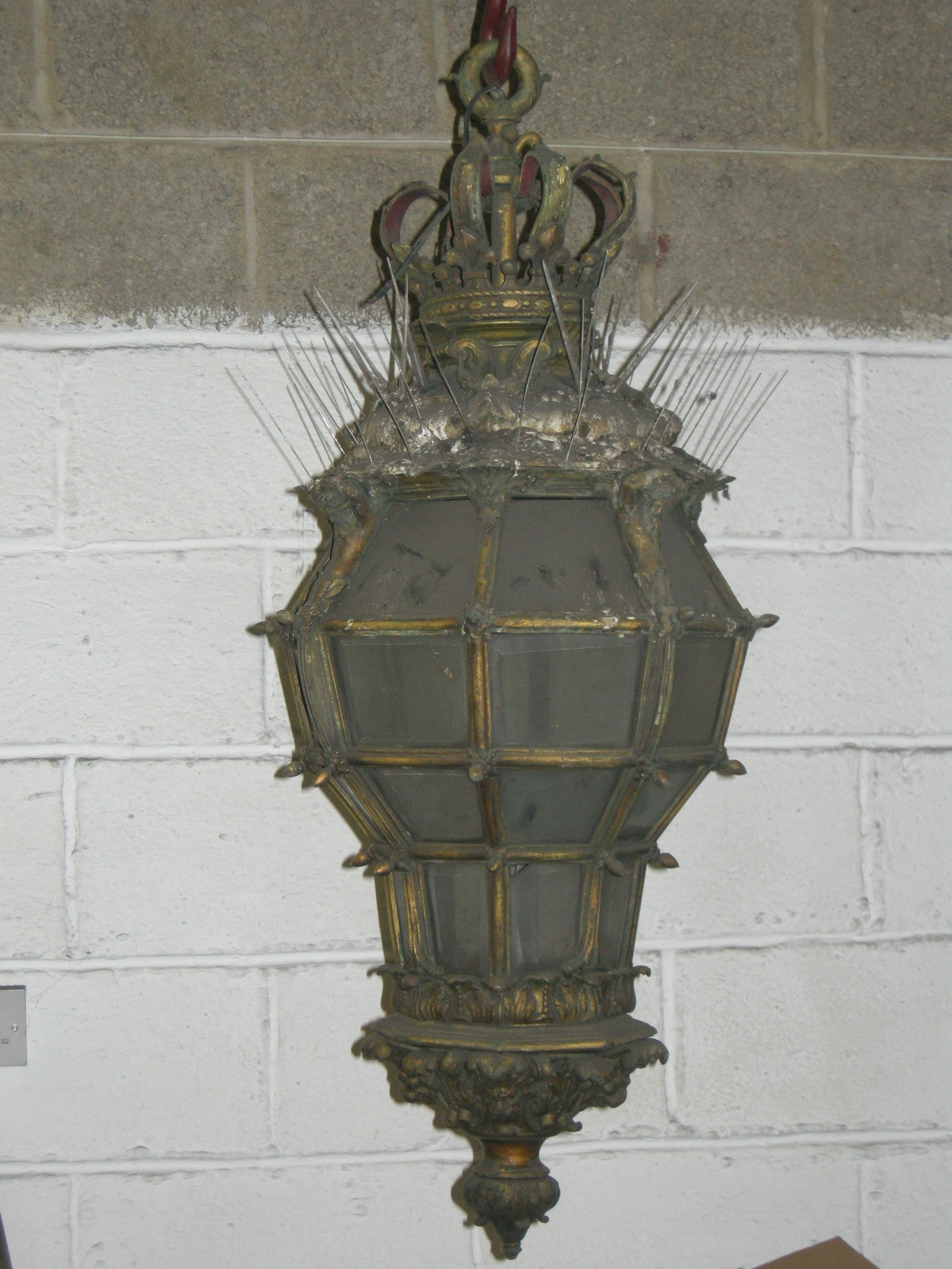 bronze lantern before restoration