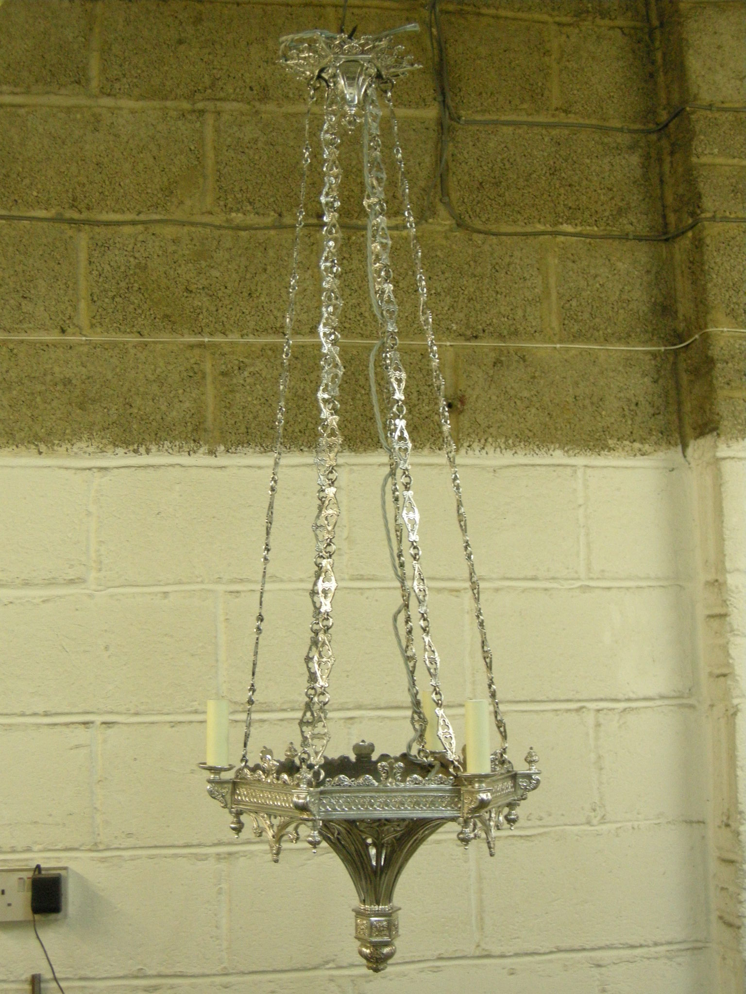 Silver pendent chandelier after