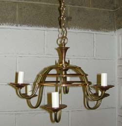 Small brass   and copper chandelier